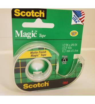 3M Magic Tape #104 with dispenser,1/2 x 450 inches.