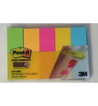 5 Color Post it Note Page Marker 13mm x 44.5mm. 3M 670-5AN
