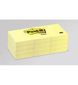 3M 653 Yellow Post it Note Pad 1½ in x 2 in,12 pad.