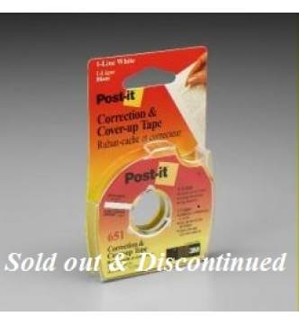 3M 651 Correction & Cover-up Tape, 1/6 in x 700 in.