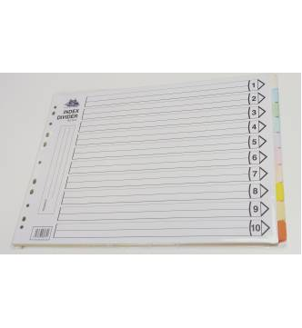 A3 10 Parts Paper Filing Divider, horizontal A3 10C