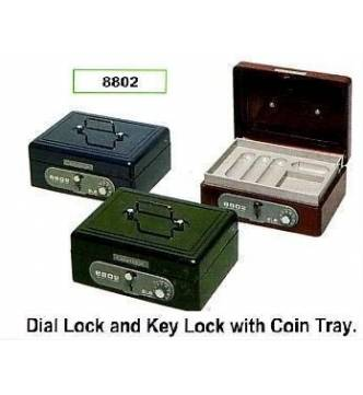 Cash Box,ELM 8802. Dial & key lock with coin tray.