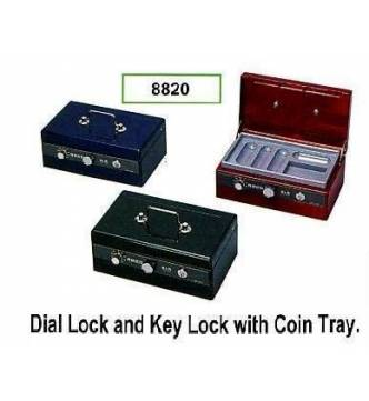 Cash Box, ELM 8820. Dial & key lock with coin tray.