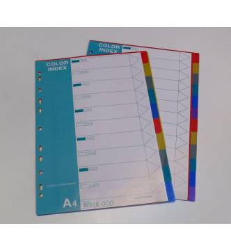 A4 1 to 10 PVC Color Filing Divider .