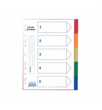 A4 5 Parts PVC Color Filing Divider