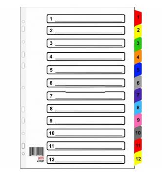 A4 1 to 12 Filing Divider with color tap, ifax 4112