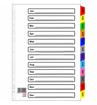 A4 Jan to Dec Filing Divider with color tap, ifax 4JDP