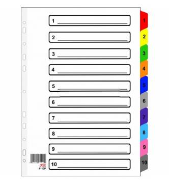 A4 1 to 10 Filing Divider  with color tap, ifax 4110