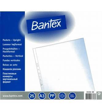 A3 Filing Pocket .Bantex 2036 PP (0.12mm)Short -open, 25pcs/pkt A3 upright copy safe pocket.