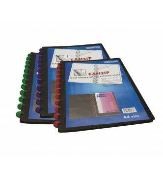 A4 Clear holder with 20 pocket Easizip refillable.W98 Bindermax.