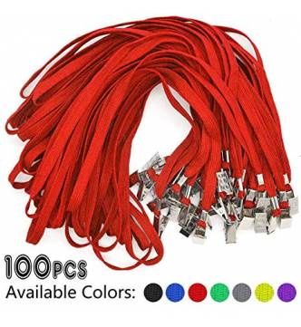 Flat lanyard (neck sling) 16 inches, with metal clip for ID/Pass w/slot.100's pack.