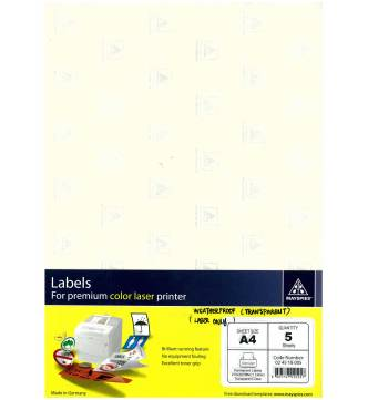 A4 Plastic Clear Label-5 sheets- Mayspies 024518005
