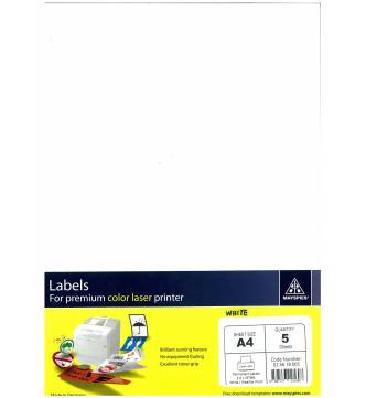 A4 Weather Proof Plastic Labels 5 sheet.Mayspies 024618005.