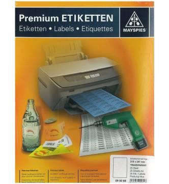 A4 Transparent Plastic Label 25 sheets/box #090068
