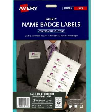 Name Badge Label White Fabric 86.5mm x 55.5mm - 959171