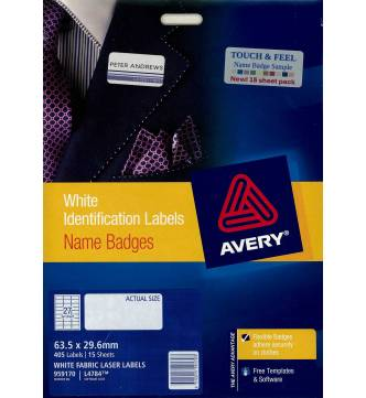 Name Badge Label White Fabric 63.5mm x 29.6mm Avery 959170