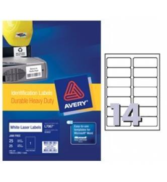 Weather Proof White Labels 99.1 x 38.1mm Avery L7063-25