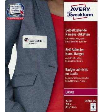 Name Badge Label-White Fabric 80 x 50mm Avery Zweckform L4785-20