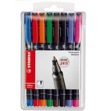 OHP Permanent marker set of 8 color #Stabilo 843/8-Medium.