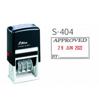 Self ink APPROVED dater stamp, Shiny S-404
