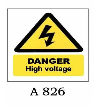 Danger High Voltage Plastic Sign A-826
