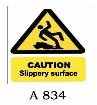 Caution Slippery Surface Plastic Sign A-834