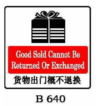 GOODS SOLD CANNOT BE RETURNED Plastic Sign.B-640