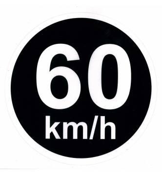 60 km/h speed limit sticker Sign. (15 cm x 15 cm) 6 x 6 inch.