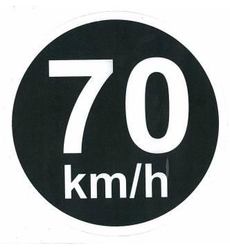 70 km/h speed limit sticker Sign. 15 cm x 15 cm (6 x 6 inch.)