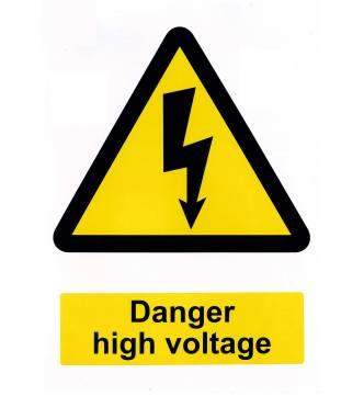 DANGER HIGH VOLTAGE.Sticker Sign. 8.25  x 11.75 inch.