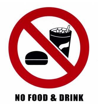 No Food & Drink Sticker Sign. 6 x 6 inch.
